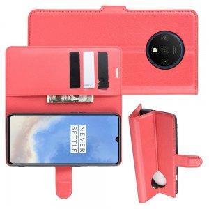 Чехол книжка кошелек с отделениями для карт и подставкой для OnePlus 7T - Красный
