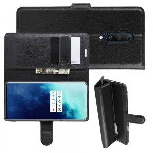 Чехол книжка кошелек с отделениями для карт и подставкой для OnePlus 7T Pro - Черный