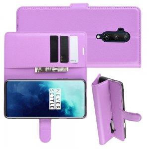 Чехол книжка кошелек с отделениями для карт и подставкой для OnePlus 7T Pro - Фиолетовый