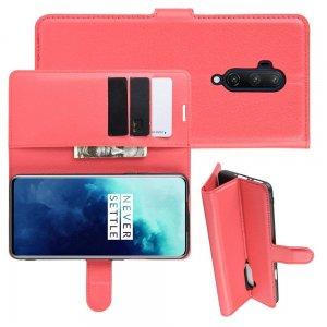 Чехол книжка кошелек с отделениями для карт и подставкой для OnePlus 7T Pro - Красный