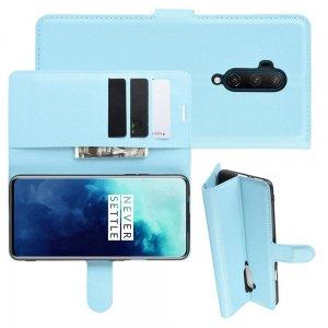 Чехол книжка кошелек с отделениями для карт и подставкой для OnePlus 7T Pro - Синий