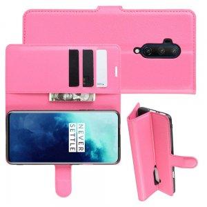 Чехол книжка кошелек с отделениями для карт и подставкой для OnePlus 7T Pro - Светло-Розовый