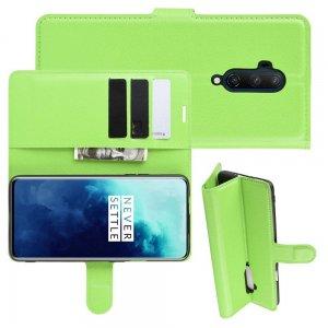 Чехол книжка кошелек с отделениями для карт и подставкой для OnePlus 7T Pro - Зеленый