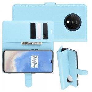 Чехол книжка кошелек с отделениями для карт и подставкой для OnePlus 7T - Синий