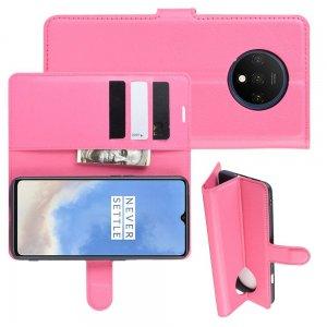 Чехол книжка кошелек с отделениями для карт и подставкой для OnePlus 7T - Светло-Розовый