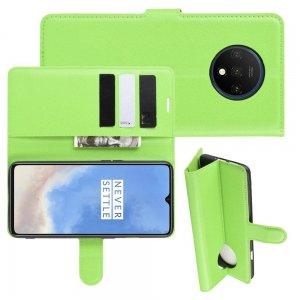 Чехол книжка кошелек с отделениями для карт и подставкой для OnePlus 7T - Зеленый