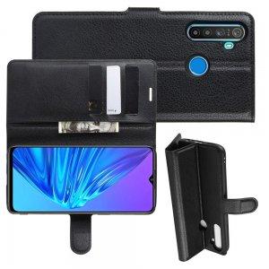 Чехол книжка кошелек с отделениями для карт и подставкой для OPPO Realme 5 - Черный