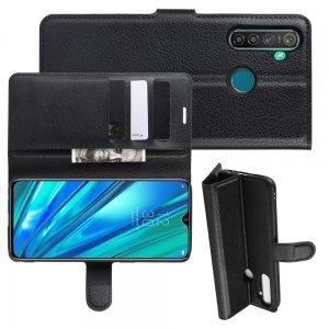Чехол книжка кошелек с отделениями для карт и подставкой для OPPO Realme 5 Pro - Черный