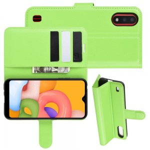 Чехол книжка кошелек с отделениями для карт и подставкой для Samsung Galaxy A01 - Зеленый