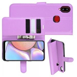 Чехол книжка кошелек с отделениями для карт и подставкой для Samsung Galaxy A10s - Фиолетовый