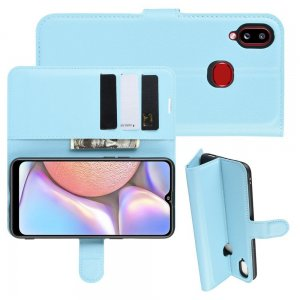 Чехол книжка кошелек с отделениями для карт и подставкой для Samsung Galaxy A10s - Синий