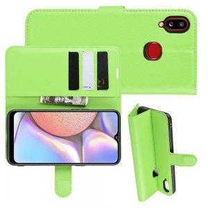 Чехол книжка кошелек с отделениями для карт и подставкой для Samsung Galaxy A10s - Зеленый