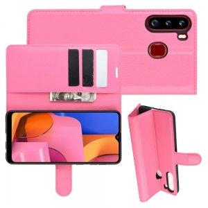 Чехол книжка кошелек с отделениями для карт и подставкой для Samsung Galaxy A21 - Светло-Розовый