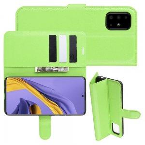 Чехол книжка кошелек с отделениями для карт и подставкой для Samsung Galaxy A51 - Зеленый