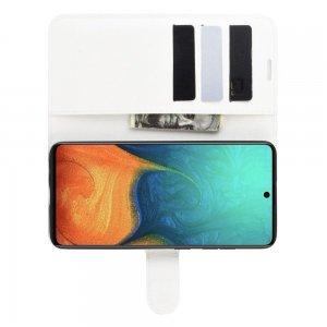 Чехол книжка кошелек с отделениями для карт и подставкой для Samsung Galaxy A71 - Белый