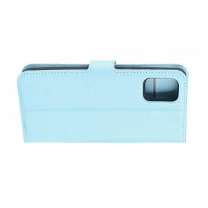 Чехол книжка кошелек с отделениями для карт и подставкой для Samsung Galaxy A71 - Голубой