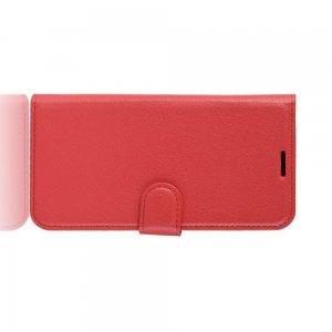 Чехол книжка кошелек с отделениями для карт и подставкой для Samsung Galaxy A71 - Красный