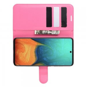 Чехол книжка кошелек с отделениями для карт и подставкой для Samsung Galaxy A71 - Светло-Розовый