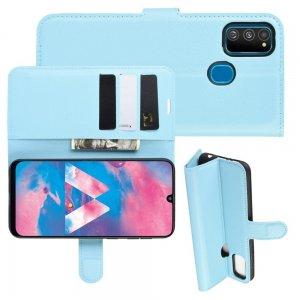 Чехол книжка кошелек с отделениями для карт и подставкой для Samsung Galaxy M30s - Синий