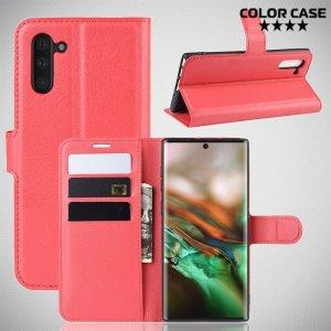 Чехол книжка кошелек с отделениями для карт и подставкой для Samsung Galaxy Note 10 - Красный