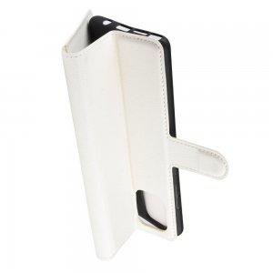 Чехол книжка кошелек с отделениями для карт и подставкой для Samsung Galaxy Note 10 Lite - Белый
