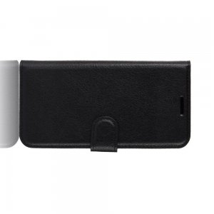 Чехол книжка кошелек с отделениями для карт и подставкой для Samsung Galaxy Note 10 Lite - Черный