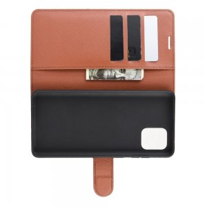 Чехол книжка кошелек с отделениями для карт и подставкой для Samsung Galaxy Note 10 Lite - Коричневый