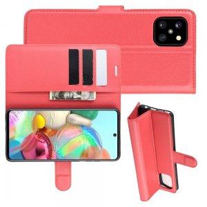 Чехол книжка кошелек с отделениями для карт и подставкой для Samsung Galaxy Note 10 Lite - Красный