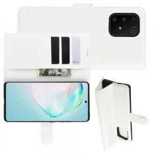 Чехол книжка кошелек с отделениями для карт и подставкой для Samsung Galaxy S10 Lite - Белый