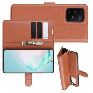 Чехол книжка кошелек с отделениями для карт и подставкой для Samsung Galaxy S10 Lite - Коричневый