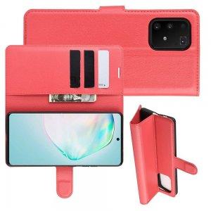 Чехол книжка кошелек с отделениями для карт и подставкой для Samsung Galaxy S10 Lite - Красный