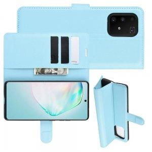 Чехол книжка кошелек с отделениями для карт и подставкой для Samsung Galaxy S10 Lite - Синий