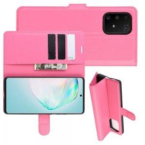 Чехол книжка кошелек с отделениями для карт и подставкой для Samsung Galaxy S10 Lite - Светло-Розовый