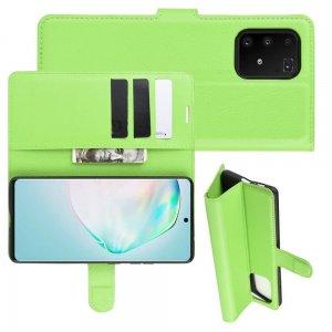 Чехол книжка кошелек с отделениями для карт и подставкой для Samsung Galaxy S10 Lite - Зеленый