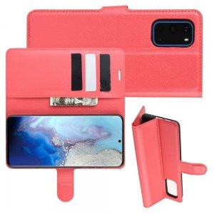 Чехол книжка кошелек с отделениями для карт и подставкой для Samsung Galaxy S20 - Красный