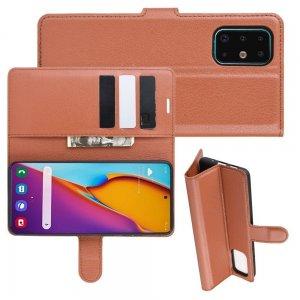 Чехол книжка кошелек с отделениями для карт и подставкой для Samsung Galaxy S20 Plus - Коричневый