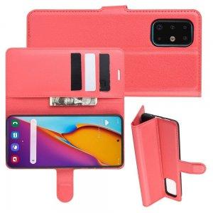 Чехол книжка кошелек с отделениями для карт и подставкой для Samsung Galaxy S20 Plus - Красный