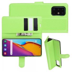 Чехол книжка кошелек с отделениями для карт и подставкой для Samsung Galaxy S20 Plus - Зеленый
