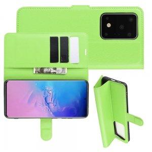 Чехол книжка кошелек с отделениями для карт и подставкой для Samsung Galaxy S20 Ultra - Зеленый
