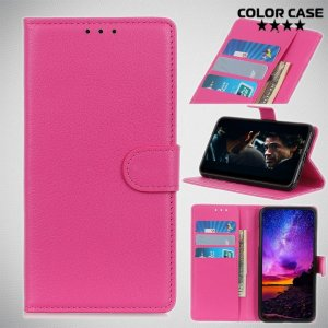 Чехол книжка кошелек с отделениями для карт и подставкой для Sony Xperia 5 - Розовый