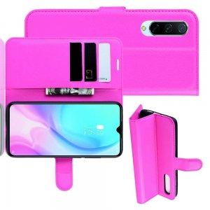 Чехол книжка кошелек с отделениями для карт и подставкой для Xiaomi Mi 9 lite - Светло-Розовый