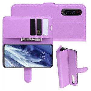 Чехол книжка кошелек с отделениями для карт и подставкой для Xiaomi Mi 9 Pro - Фиолетовый
