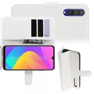 Чехол книжка кошелек с отделениями для карт и подставкой для Xiaomi Mi A3 - Белый