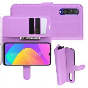 Чехол книжка кошелек с отделениями для карт и подставкой для Xiaomi Mi A3 - Фиолетовый