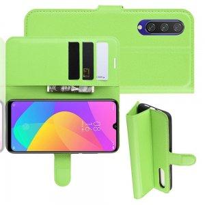 Чехол книжка кошелек с отделениями для карт и подставкой для Xiaomi Mi A3 - Зеленый
