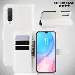 Чехол книжка кошелек с отделениями для карт и подставкой для Xiaomi Mi 9 lite - Белый