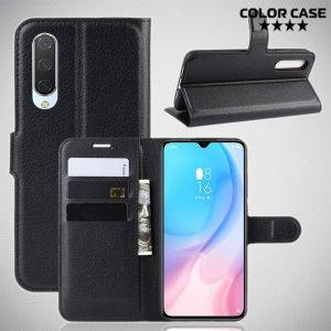 Чехол книжка кошелек с отделениями для карт и подставкой для Xiaomi Mi 9 lite - Черный