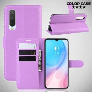 Чехол книжка кошелек с отделениями для карт и подставкой для Xiaomi Mi 9 lite - Фиолетовый