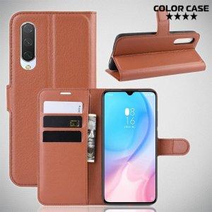 Чехол книжка кошелек с отделениями для карт и подставкой для Xiaomi Mi 9 lite - Коричневый