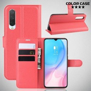 Чехол книжка кошелек с отделениями для карт и подставкой для Xiaomi Mi 9 lite - Красный